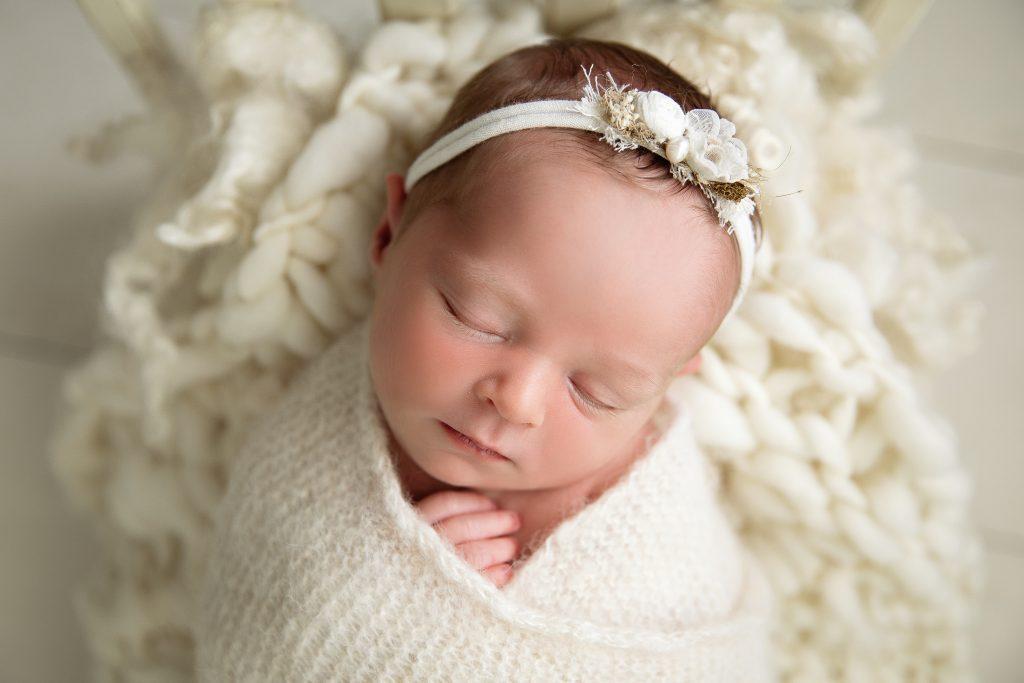 Baby Girl White Headband Raleigh Photographer